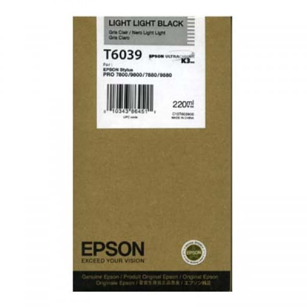 Epson Tinte T6039 Light Light Black, 220 ml