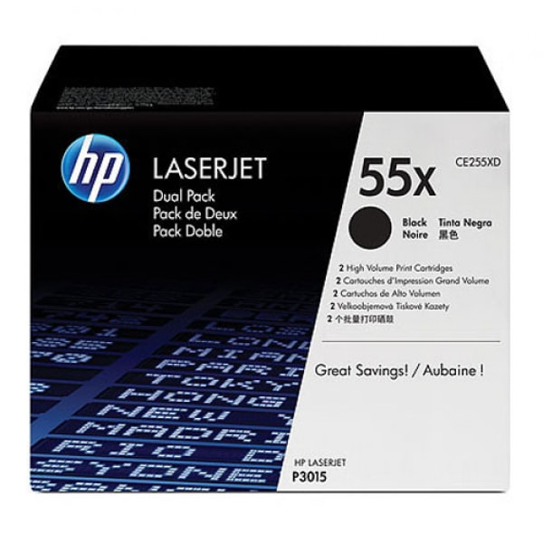 HP Toner CE255XD Schwarz für LaserJet P3015 M525 M521 2x 12.500 Seiten