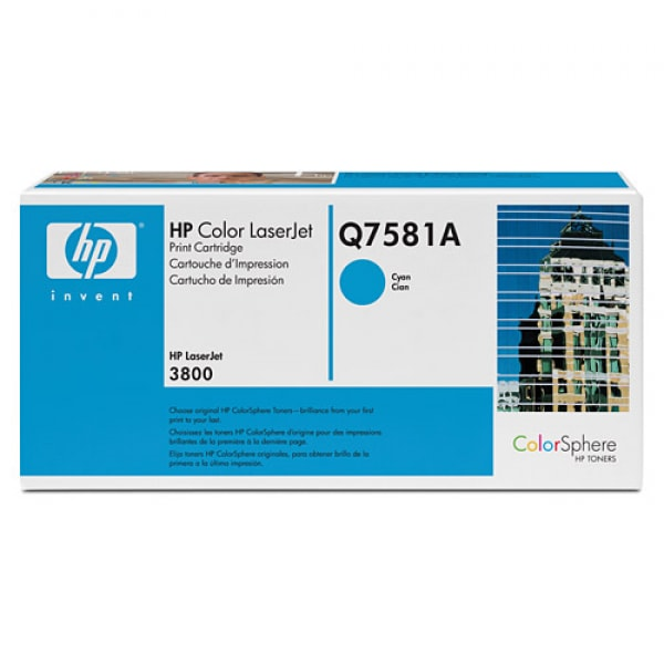 HP Toner Cyan Q7581A für Color LaserJet 3800 / CP3505, 6k