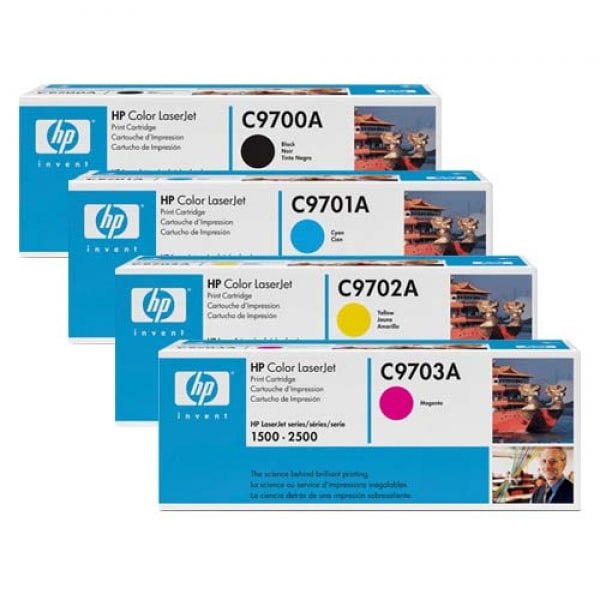HP Toner-Set (Cyan, Magenta, Yellow, Schwarz) für Color LaserJet 1500 und 2500