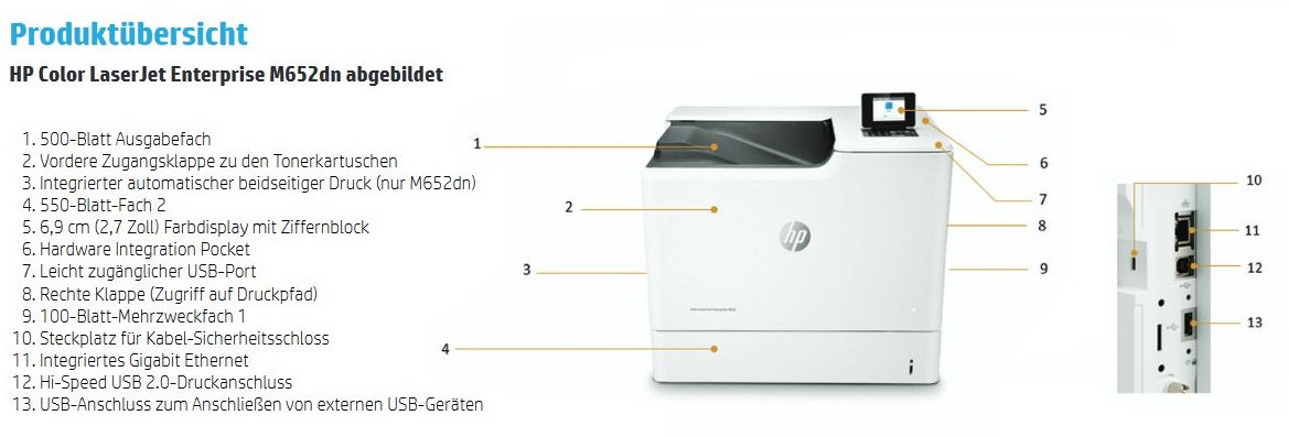 HP Color LaserJet Enterprise M652dn Produktübersicht