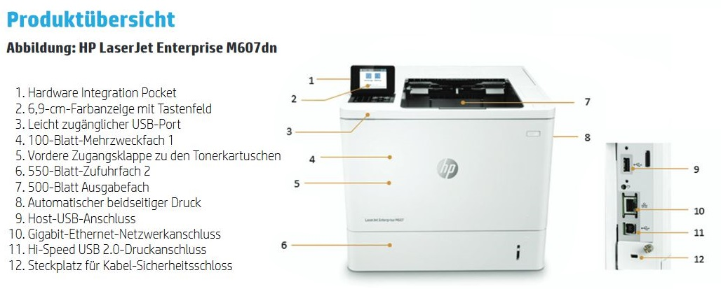 HP LaserJet Enterprise M607dn Produktübersicht