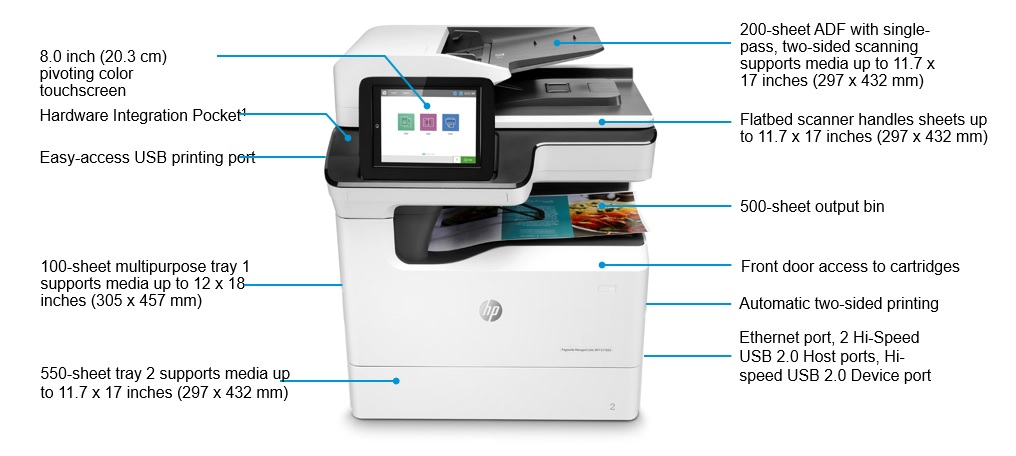 HP PageWide Managed Color MFP E77650dn Produktansicht